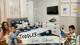 CLEAN + DECORATE WITH ME || TODDLER ROOM MAKEOVER || DINOSAUR BEDROOM THEME