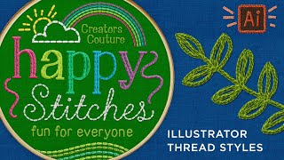 Embroidery Thread Graphic Styles For Illustrator | Hand-Embroidered Illustration Effect