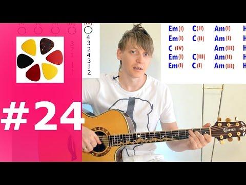 Уроки гитары для начинающих с нуля, урок 24, переборы с боями ДДТ- на небе вороны/разбор