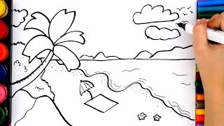 How to draw beach for kids scenery drawing for children draw how to draw beach tree sun and cloud coloring pages for kids altavistaventures Images