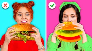 GIANT GUMMY FOOD VS REAL FOOD CHALLENGE || Funny Food Challenges by 123 GO! GOLD