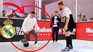 LE ENSEÑO TRUCOS TOP A UN JUGADOR DE PRIMERA del REAL MADRID (MAHOU URBAN FOOTBALL)