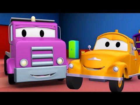 Tom la Grúa y el Camión Plataforma en Auto City | Autos y camiones dibujos animados para niños