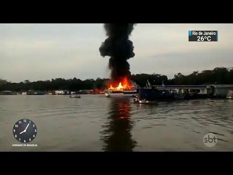 Explosão em posto de combustíveis fluvial deixa 9 feridos no Amazonas | SBT Brasil (14/10/17)