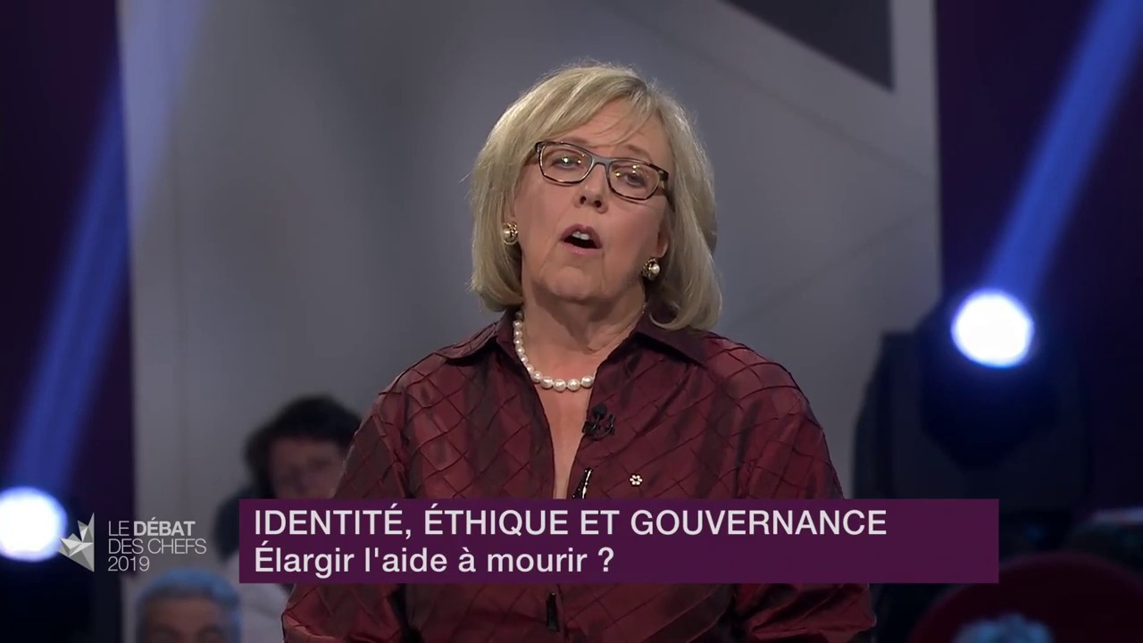 Elizabeth May answers a question about medically-assisted dying
