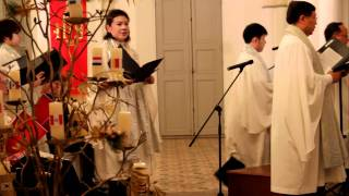 5 year old singing at Christmas concert - adapted from Suo Gan