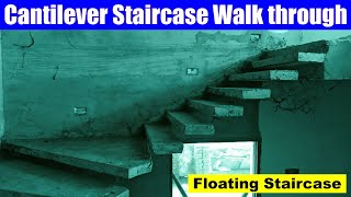 Cantilever Staircase Walk Through | Floating Staircase | Construction Of Cantilever Staircase