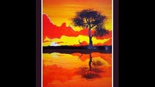 Видео урок, рисуем гуашью  Закат с Dari Art