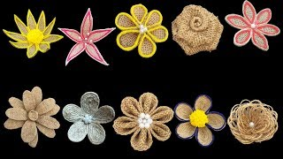 Easy 10 Different Types Of Jute Burlap Flowers || Jute  Burlap Craft Flower