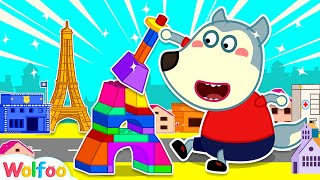 Baby Wolf Builds A Lego Eiffel Tower In A Mini Versions Of City | Wolfoo Channel