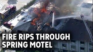 WATCH LIVE: Massive Spring motel fire sends 5 to hospital