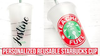 PERSONALIZED STARBUCKS CUP WITH CRICUT | CRICUT STARBUCKS CUP TEMPLATE
