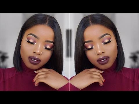 GRWM Makeup + Hair: GLOWY Monochromatic Makeup  Look & DIY BOB wig