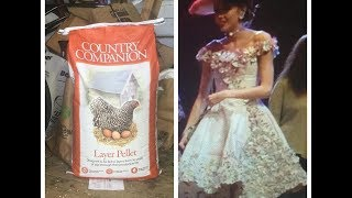 MAKING A FANCY DRESS OUT OF CHICKEN FEED BAGS