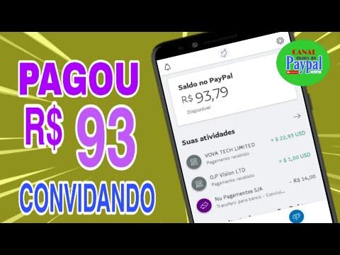 PAGOU R$93,00 no paypal apenas convidando (App VOVA) \Money no Paypal/