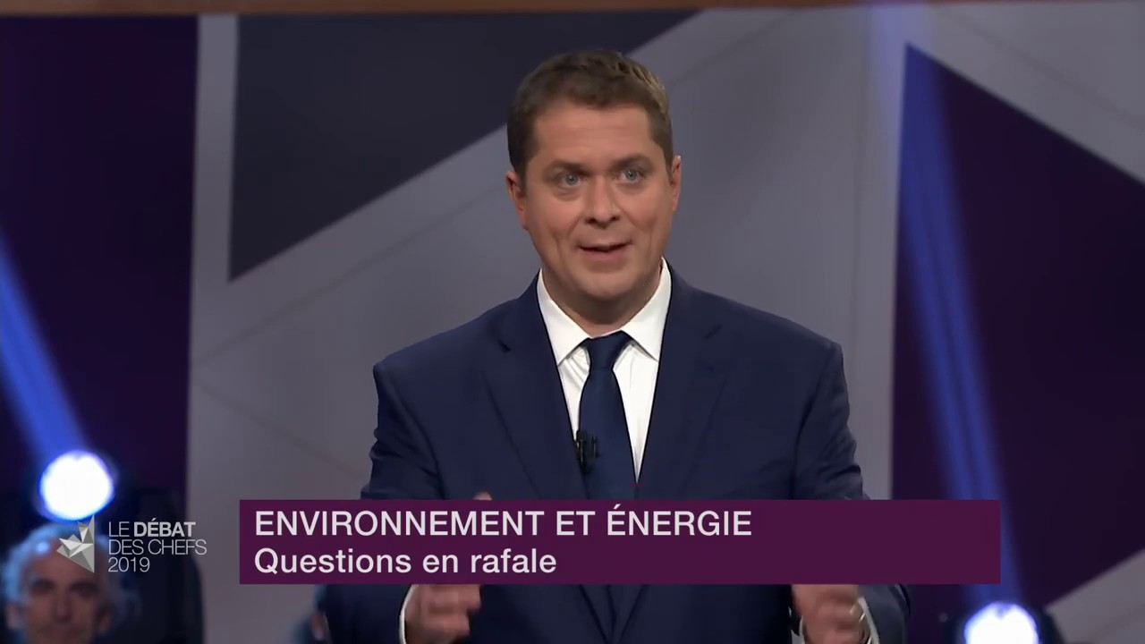 Andrew Scheer answers a question about global fight against climate change