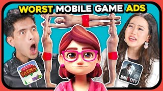 YouTubers React To WORST MOBILE ADS EVER (Lily's Garden, Mafia)