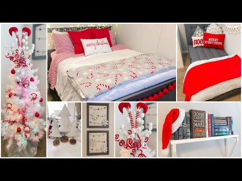 CHRISTMAS TEEN BEDROOM DECORATE WITH ME | PEPPERMINT WONDERLAND (Collab w Traditions by the Seasons)