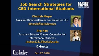 Job Search Strategies for CED Int'l Students 1October 2020