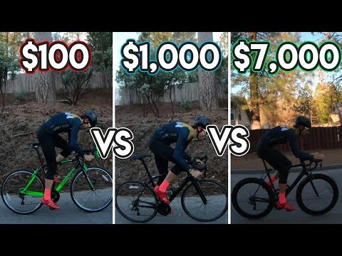 $100 vs $1,000 vs $7,000 road bike TEST (WHATS THE DIFFERENCE???)