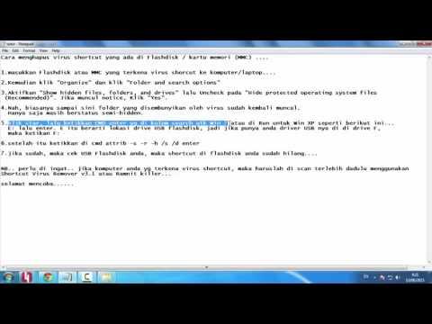 Video Cara Menghapus Virus Shortcut Di Flashdisk  Dengan CMD Ampuh