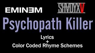 Eminem's Verse - Psychopath Killer - [Lyric Video & Colored Rhyme Scheme]