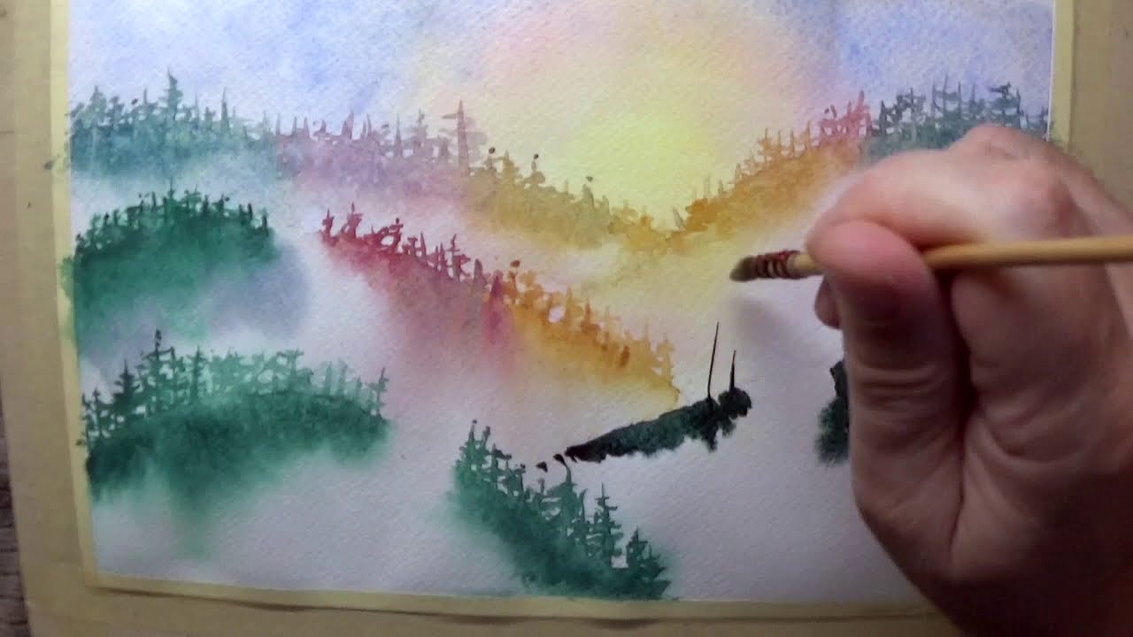 watercolor painting misty pine trees by vamos