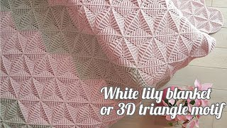 Crochet 3D Triangle Motif | White Lily Blanket / Afghan