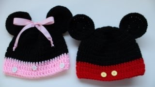 How To Crochet Mickey Mouse And Minnie Mouse Disney Inspired Beanies
