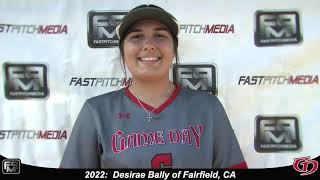 2022 Desirae Bally Middle Infielder Softball Skills Video - Game Day.
