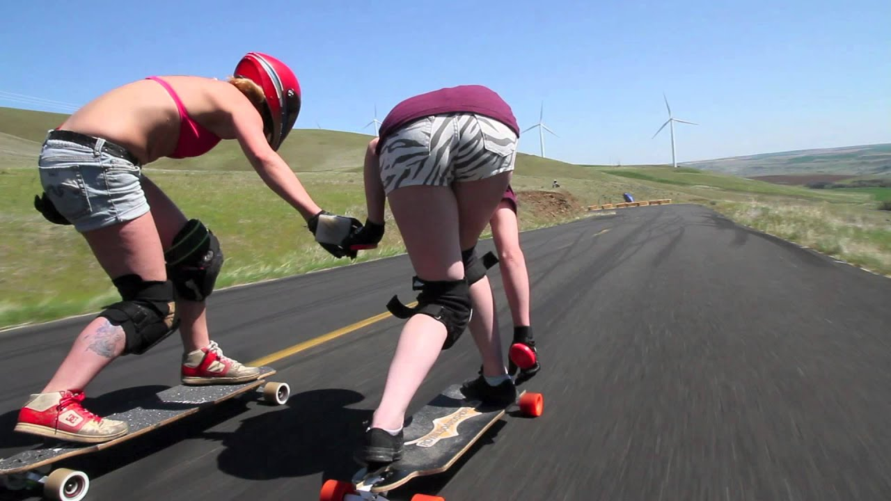 Bodacious Longboarding Babes Dominate A Downhill