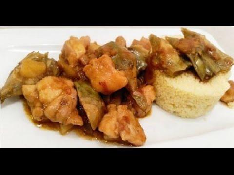 Pollo con alcachofas y couscous