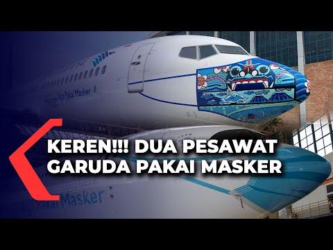 unik penampakan pesawat garuda pakai masker