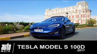 TESLA Model S 100D Paris-Biarritz avec un chien AUTO-MOTO.com