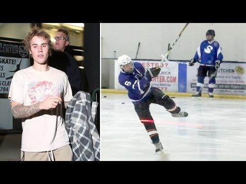 Justin Bieber Shows Off His Hockey Skills At The Ice Rink
