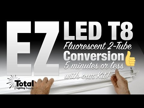 EZ LED T8 Fluorescent 2-Tube light Conversion in 5 minutes or less
