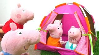 Детские игрушки! СВИНКА ПЕППА  новая серия! Peppa Pig и Джордж в походе! ПАЛАТКА ДЛЯ СВИНОВ!