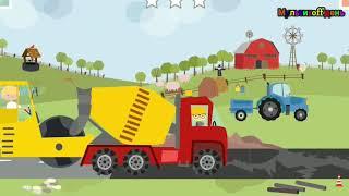 Мультики по машинки.  транспорт бетономешалка трактор мусоровоз