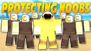 PROTECTING NOOBS IN BOOGA BOOGA | ROBLOX