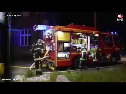 حريق هائل في مبني بميناء «لو هافر» في فرنسا