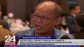 Aquino, pumalag sa sinabi ni Duterte na mas pinapahalagahan niya ang buhay vs karapatang pantao