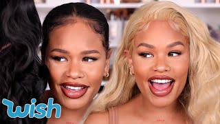 TRYING ON CHEAP WIGS FROM WISH...never again? | Arnellarmon