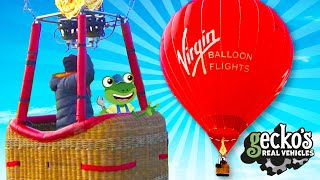 Gecko And The Hot Air Balloon | Geckos Real Vehicles | Educational Videos For Toddlers