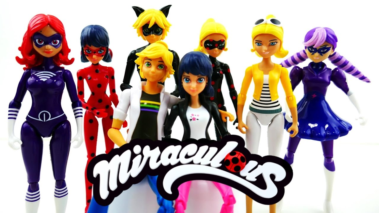 Compilation - Miraculous Ladybug Toys - Full Set Action Figures Marinette Adrien Chloe Antibug