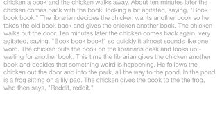 "Jokes - A chicken walks into a library, goes up to a librarian and says, ""Book book book."" The libra"