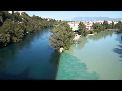 The confluence of the Rhone and Arve rivers and the etymology of the word 'rival'