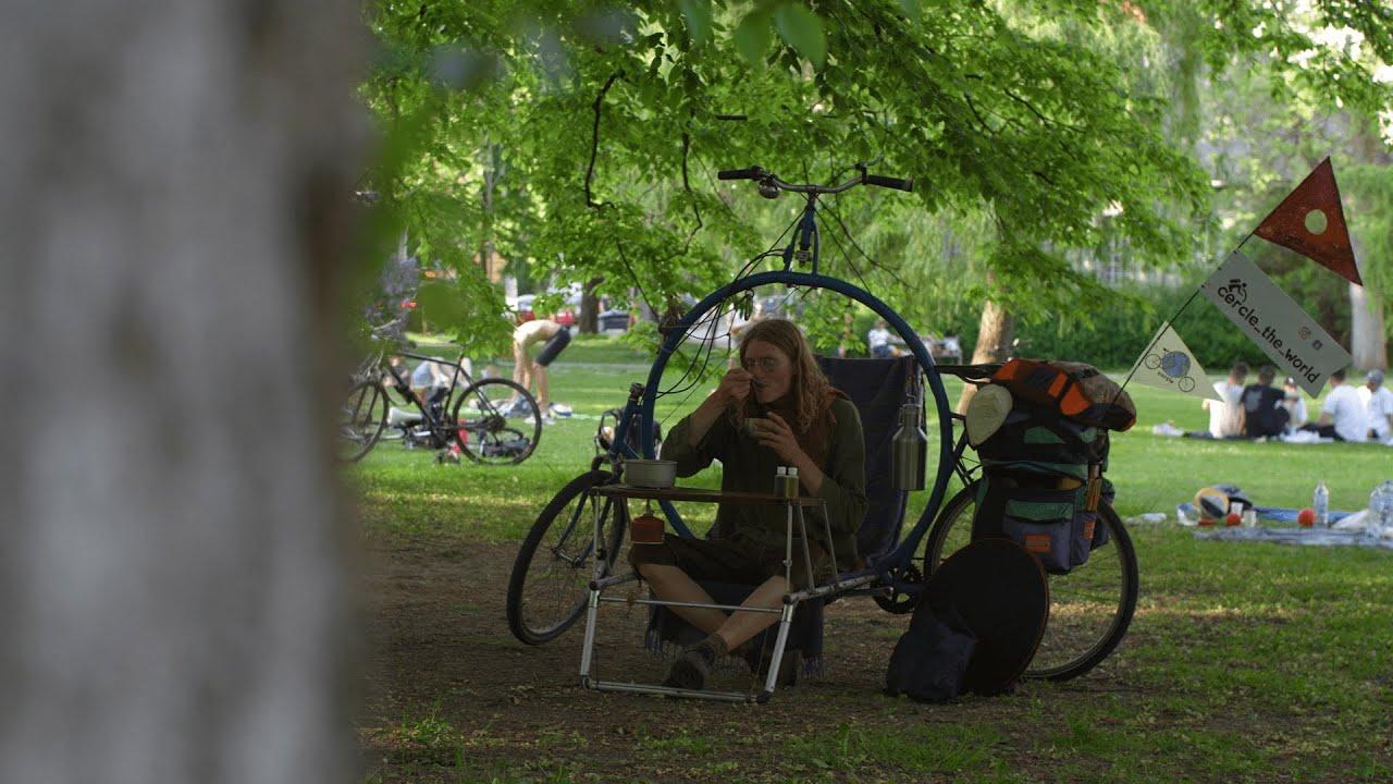 Una bici da campeggio