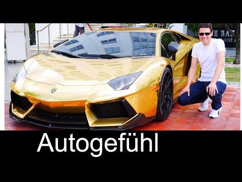 AU79 Golden Lamborghini Aventador LP700-4 in Miami Beach Gold Plated Lambo