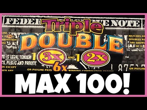 TRIPLE DOUBLE 3x 2x DOLLAR SLOT MACHINE ✦ 100 SPINS @ MAX BET ✦  WHAT'S MY PAYBACK %