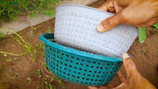 Flower Pot Making With Plastic Basket   How To Make Flower Pot